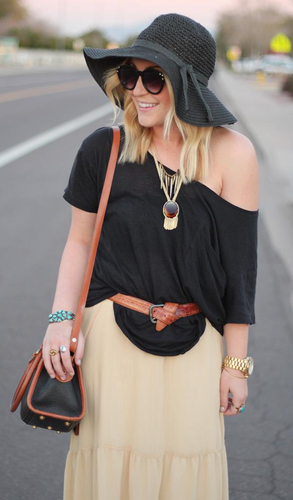 f38d9d6d9487f2 maxi skirt {old}, tshirt Walmart {old}, booties Forever 21, belt {my  dad's}, Dooney & Bourke bag vintage {my grandma's}, amber necklace vintage,  ...