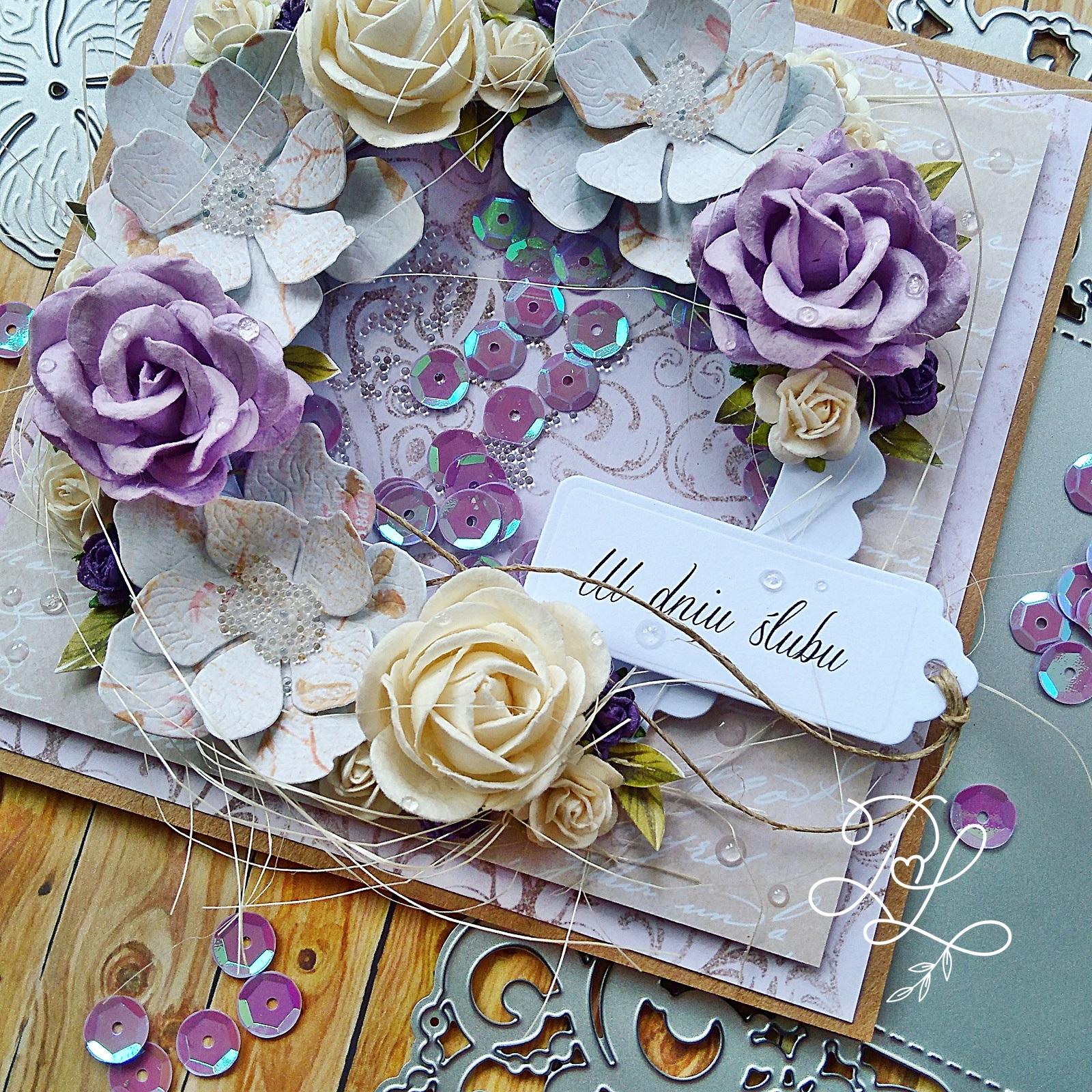 Wyjątkowa i oryginalna kartka ślubna z shaker box wykonana przez Papierowe Love Katarzyna Rajczakowska