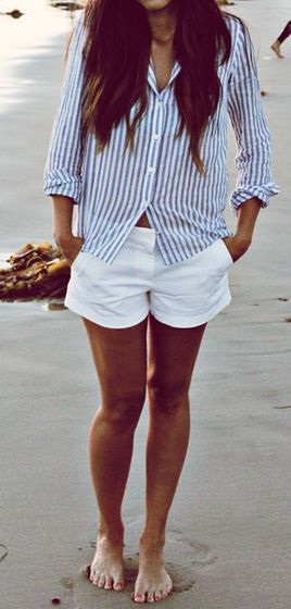 striped shirt + shorts