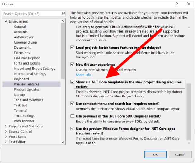 Mostrar todas las plantillas .NET Core en el diálogo de creación de proyectos