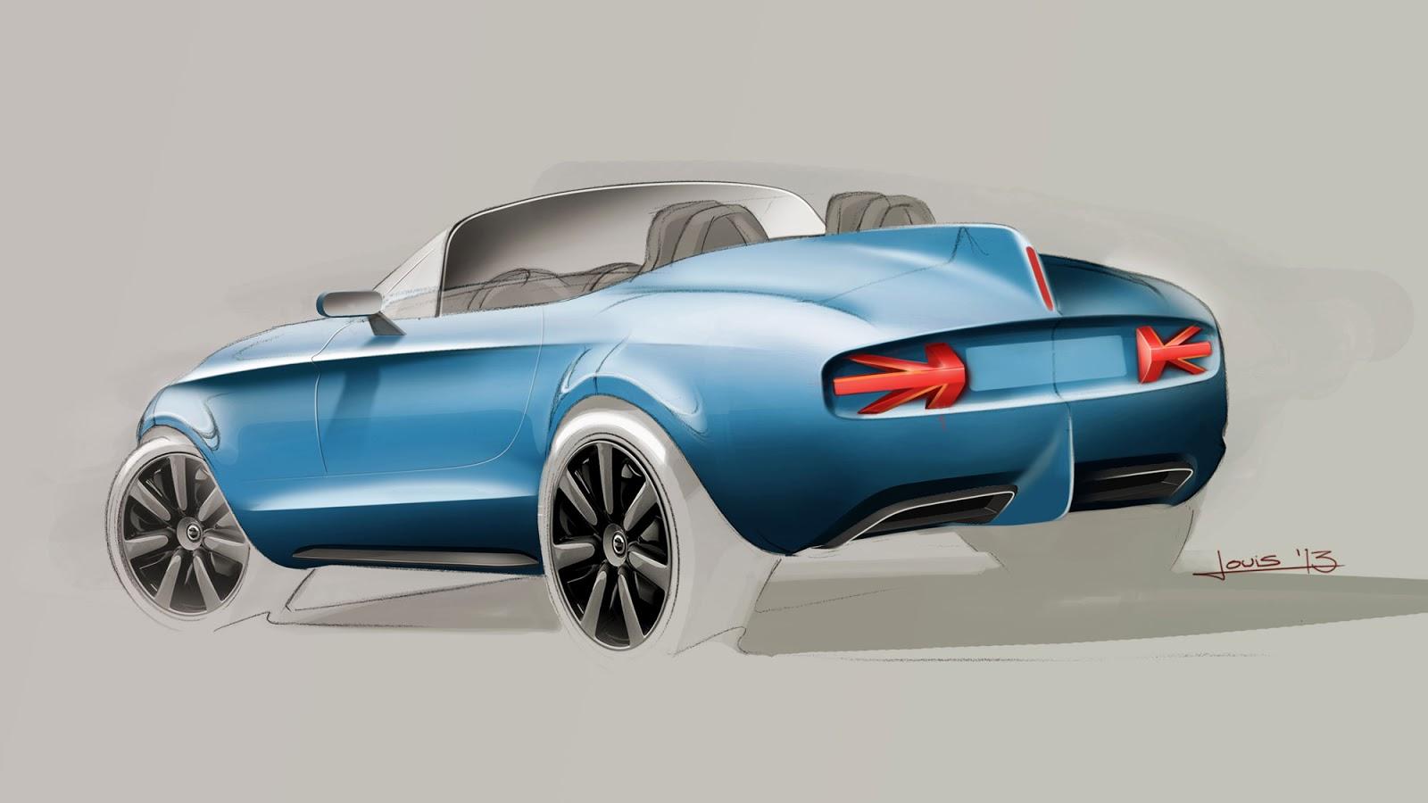 Mini Vision Superleggera rear view sketch by Louis de Fabribeckers