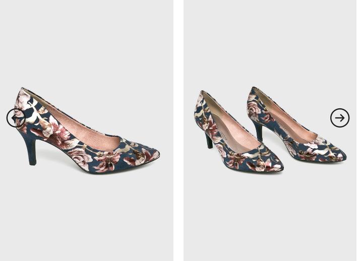 Marco Tozzi - Pantofi cu toc mic comozi cu imprimeu floral