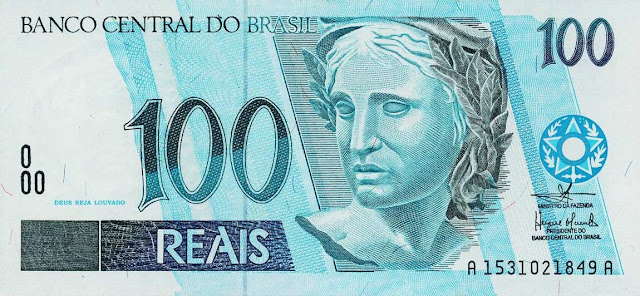 Brazil Currency 100 Reals banknote 1994 Effigy of the Republic
