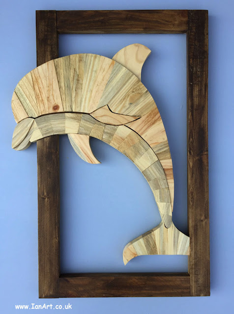 Dolphin Wooden Wall Art reclaimed recylcled wood timber handmade by IanArt