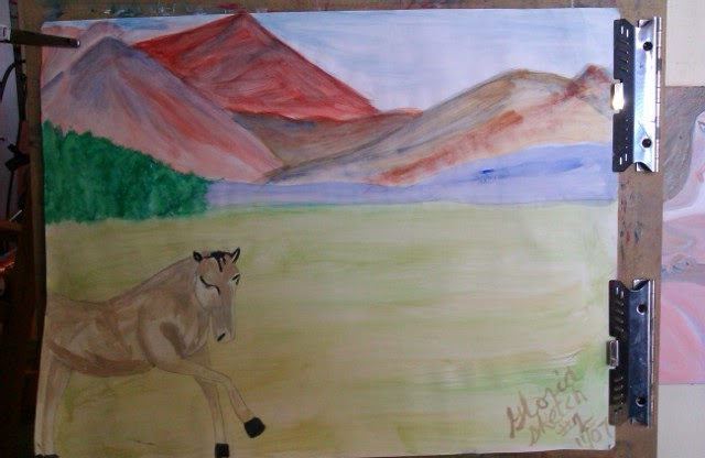 """Dancing horse in mountains of southwest"" [with  different oil painting in background and to right of painting] by Gloria Poole"