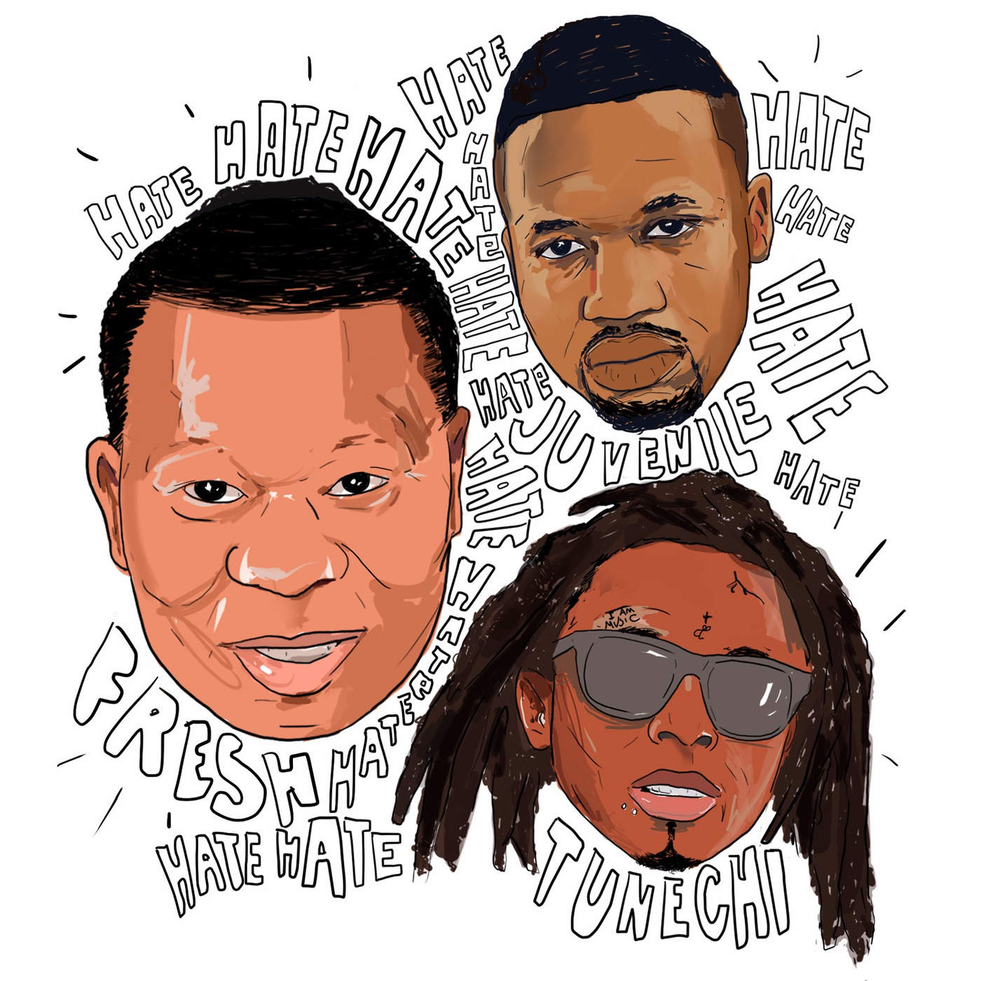 Mannie Fresh - Hate (feat. Juvenile & Tunechi) - Single Cover
