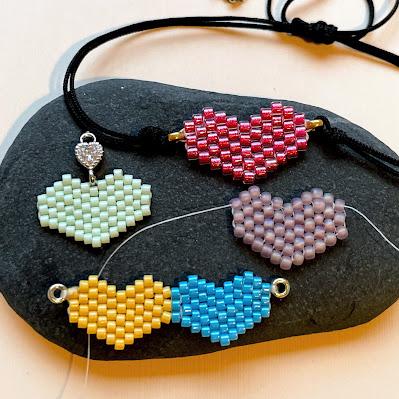 Brick stitch heart jewelry by Lisa Yang Jewelry