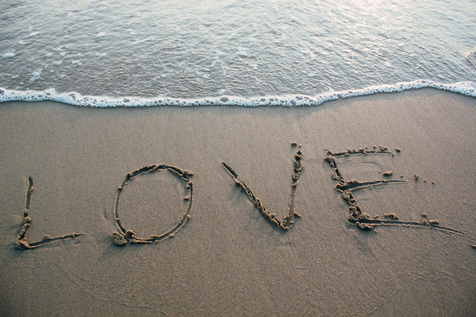 Brown Sand Love Text on Seashore, love images