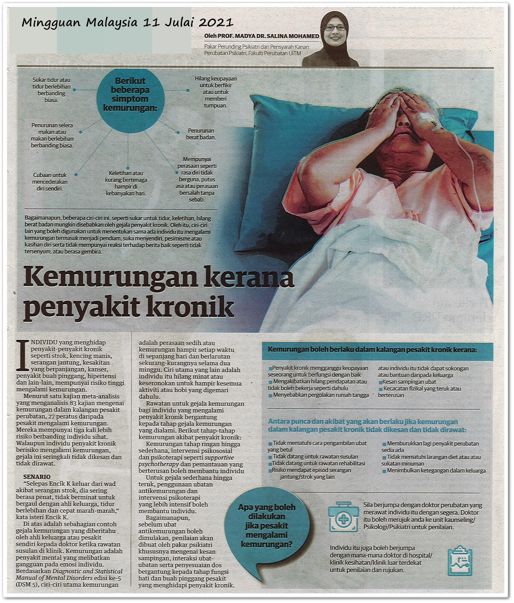 Kemurungan kerana penyakit kronik - Keratan akhbar Mingguan Malaysia 11 Julai 2021