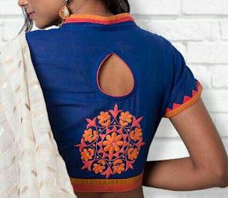 e9ac10e17b2067  24 High neck blouse design with tiny cut out