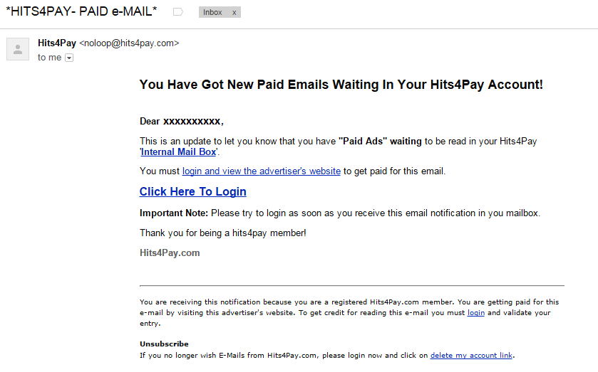 Hits4pay will send you an email invention for checking mails