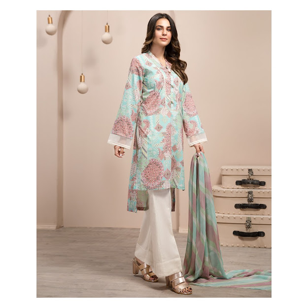Limelight lawn summer volume 2 Ice blue printed 2 pc dress