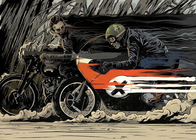 Vincent Black Shadow vs Harley XR750 - Diablo Race - Ryan Roadkill
