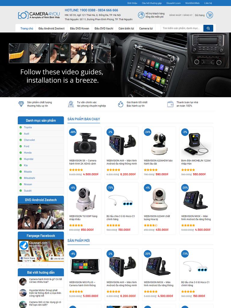 Mẫu website bán camera hành trình cho Ô tô (v2) - Ảnh 1