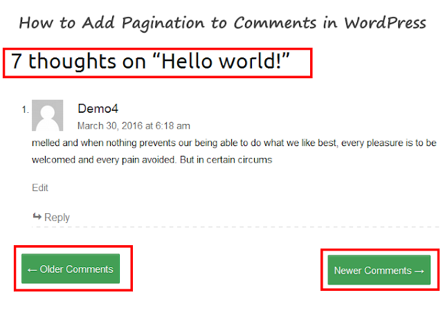 WordPress pagination to comments