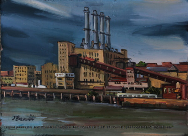 plein air oil painting of  Darling Island Goods Yard and Pyrmont Power Station from Pyrmont Wharf 9 by industrial heritage artist Jane Bennett