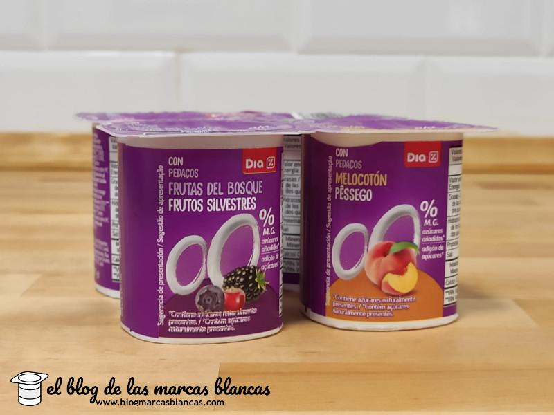 Yogur desnatado edulcorado con frutas Dia en el blog de las marcas blancas.