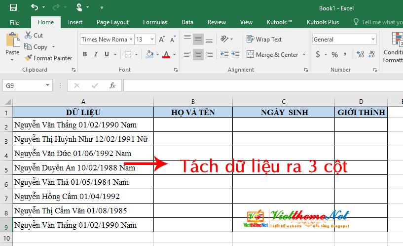 Cách tách chuỗi dữ liệu chữ và số ra thành các cột không cần công thức nhanh trong Excel