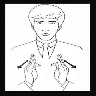 As duas mãos em T simando o sianl de servo