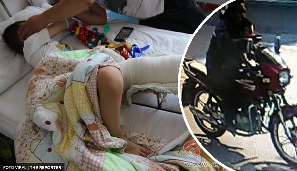 Penunggang motosikal langgar kanak-kanak sebelum humban dalam tong sampah