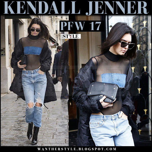 Kendall Jenner in black jacket, black sheer denim patch bodysuit what she wore paris fashion week style