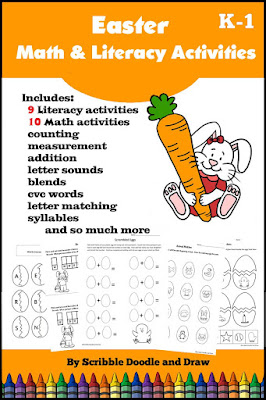 literacy and math printable worksheets for Easter
