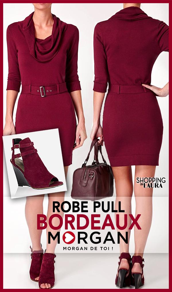 Robe pull Bordeaux col bénitier MORGAN