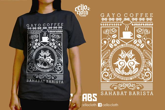 Sahabat Barista Coffee Gayo - Kaos Kopi - Contoh Desain Kaos Sablon Rubber Plastisol