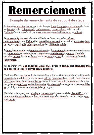 Exemple remerciement rapport de stage word cours for Assainissement cours pdf