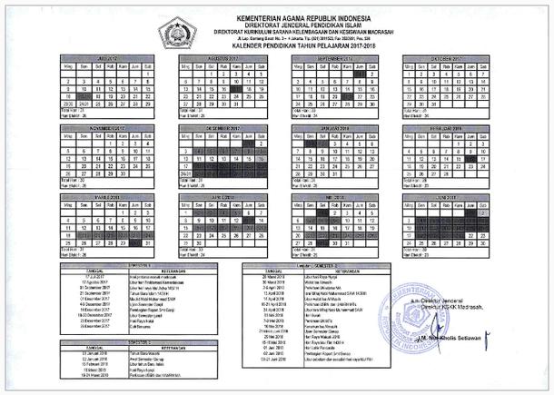 Kalender Pendidikan Madrasah Tahun Pelajaran 2017/2018