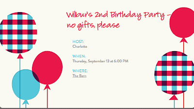 Evite to a no-gifts birthday party