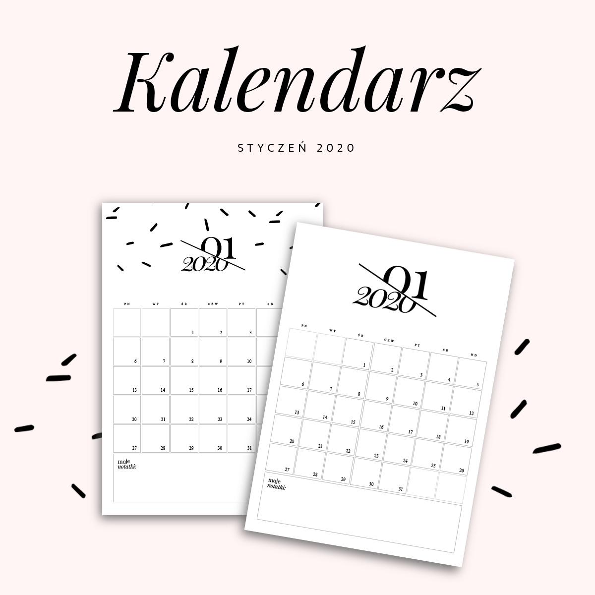 Kalendarz do druku - styczeń 2020 {do pobrania za darmo}