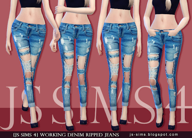 79ff59e1821 ... Sims 4 Ripped Crop Top: [JS SIMS 4] Working Denim Ripped Jeans