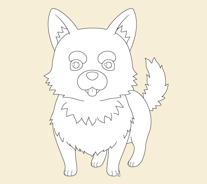 Gambar garis anime anjing
