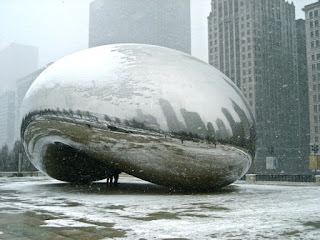 Image showing the Cloud Gate sculpture in Chicago's Millennium Park in winter