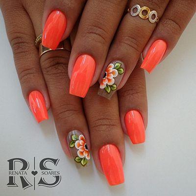 unhas decoradas laranja 4