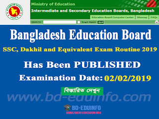 SSC, Dakhil and Equivalent Exam Routine 2019