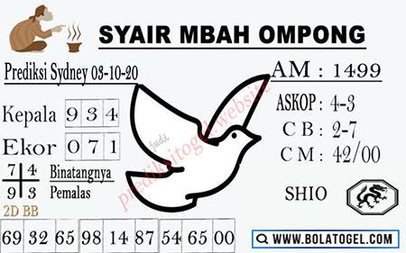 Syair Mbah Ompong Sydney Sabtu 03 Oktober 2020