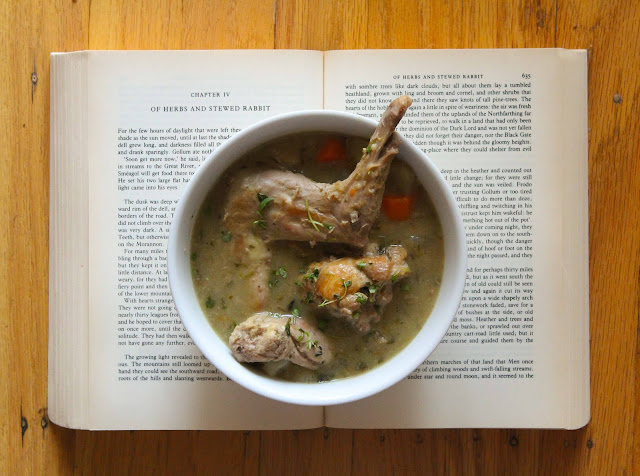 Tolkein's classic series, the Lord of the Rings, inspired this rabbit stew packed with herbs.