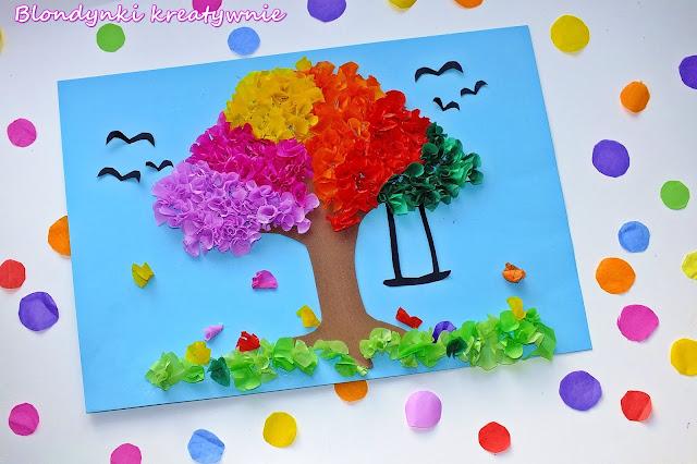 Kolorowe drzewo wyklejane bibułą