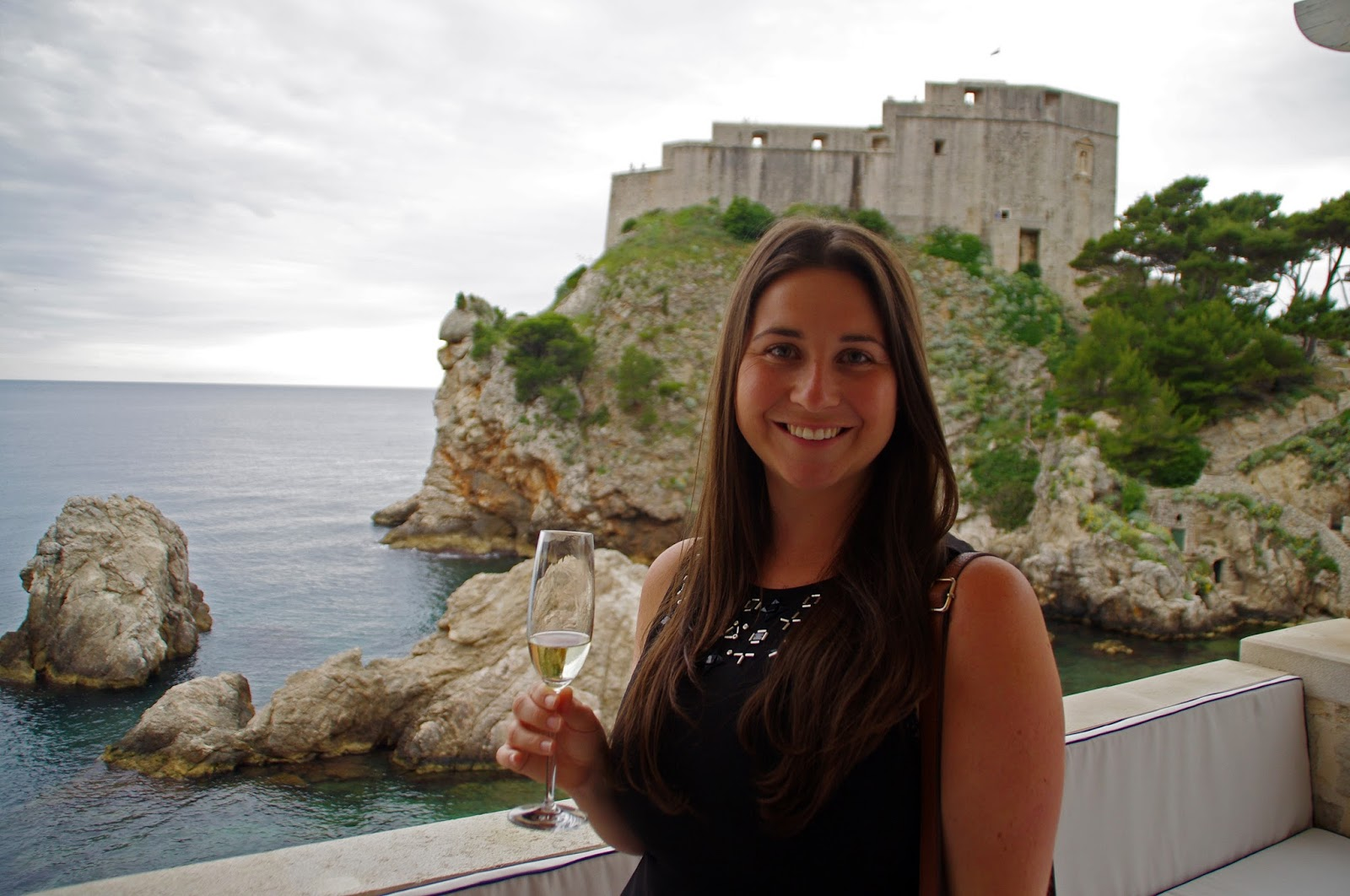 Simone with wine at Nautika Restaurant Dubrovnik