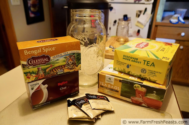 image of the types of teas used to make homemade iced chai tea concentrate