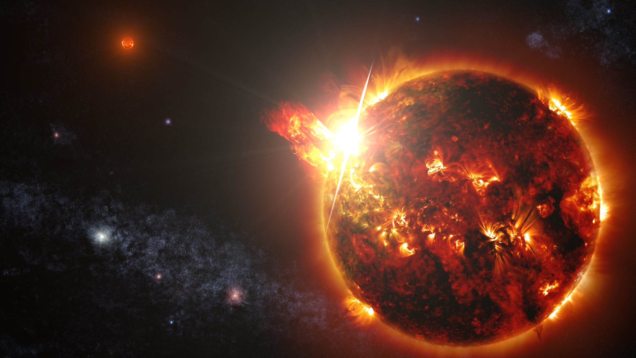 Flaring red dwarf binary star system