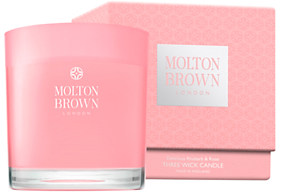molton brown delicious rhubarb and rose three wick candle