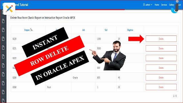 Instant Row Delete in Oracle APEX - Javainhand Tutorial