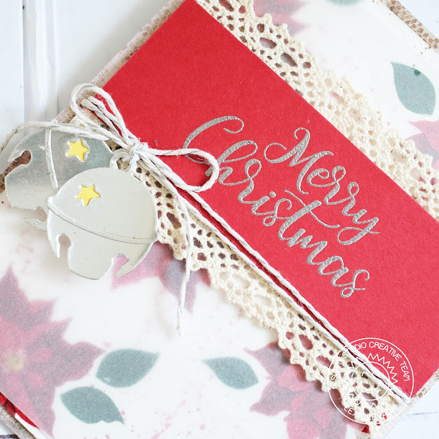Sunny Studio Stamps: Silver Bells Poinsettias Background Christmas Card by Lexa Levana