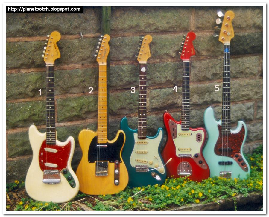 Fender Guitars Lineup: '66 Mustang, '52 Telecaster, '62 Strat, '62 Jaguar