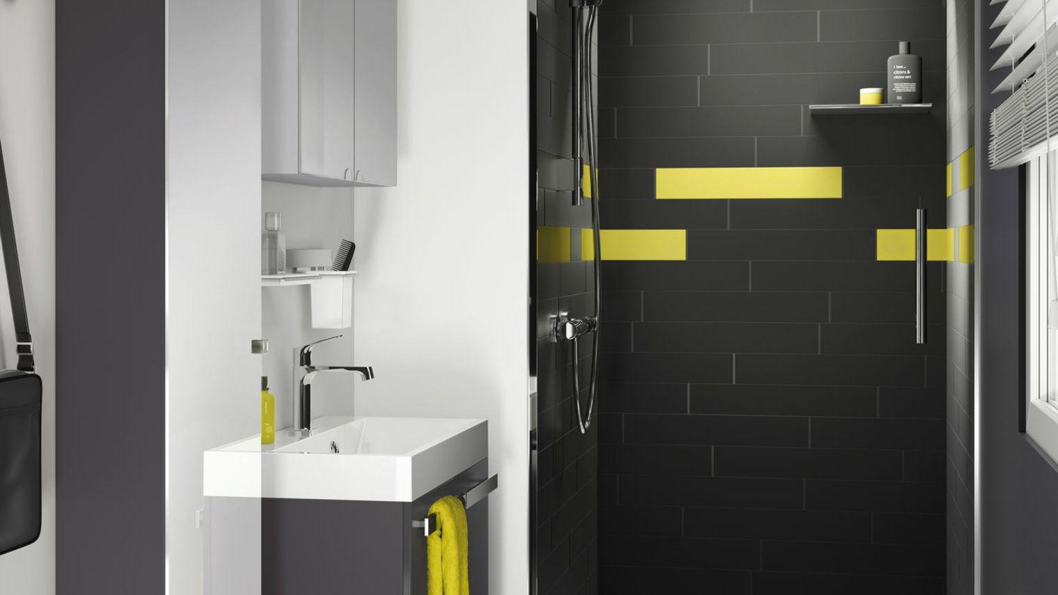 Casas de banho com decora o geom trica decora o e ideias - Salle de bain petite taille ...