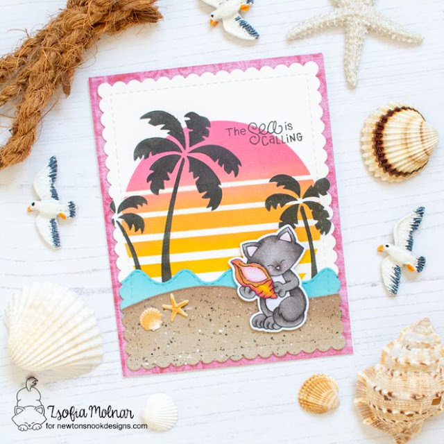 Beach Sunset card with Cat by Zsofia Molnar | Newton's Seashell Stamp Set and Sun & Palms Stencil Set by Newton's Nook Designs #newtonsnook
