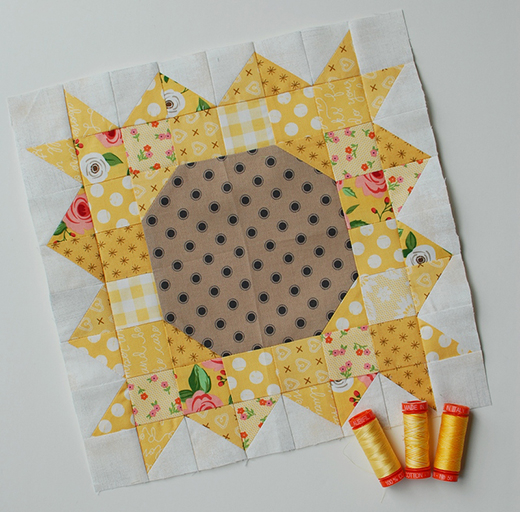 Sunflower Power Block Free Quilt Pattern
